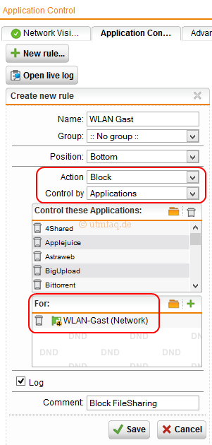 Gast WLAN Application Control Sophos UTM Regel